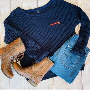 Tommy Hilfiger Navy Boxy Crew Neck Knit Sweater